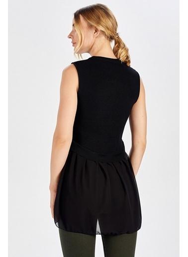 Peraluna Peraluna Arkası Şifonlu Önü Kısa Siyah Kadın Triko Bluz Siyah